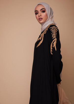 Oak Leaf Abaya Black