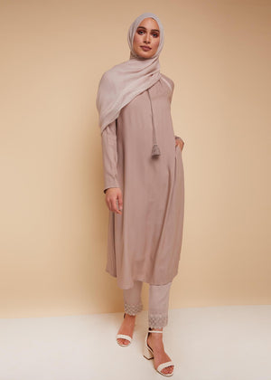 Pleated Neck Midi in Cashmere by Aab