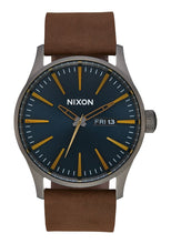 Load image into Gallery viewer, Nixon Watch Sentry Leather Gunmetal / Indigo / Brown A105-2984
