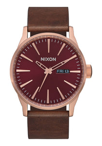 Nixon Watch Sentry Leather Rose Gold / Burgundy / Brown A105-3211