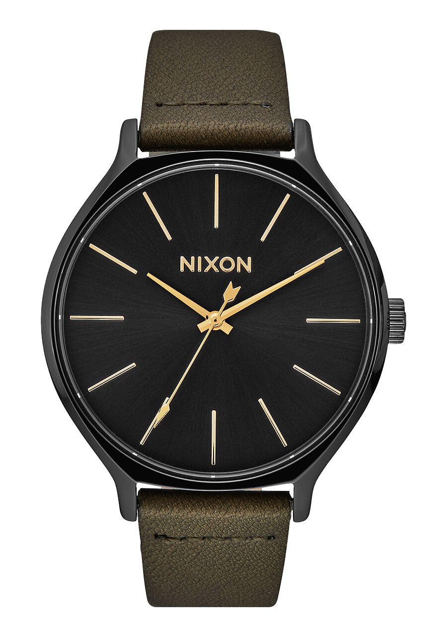 Nixon Watch Clique Leather Black / Fatigue A1250-178