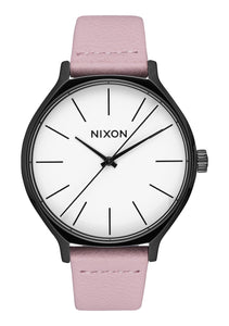 Nixon Watch Clique Leather Black / Coral A1250-3318