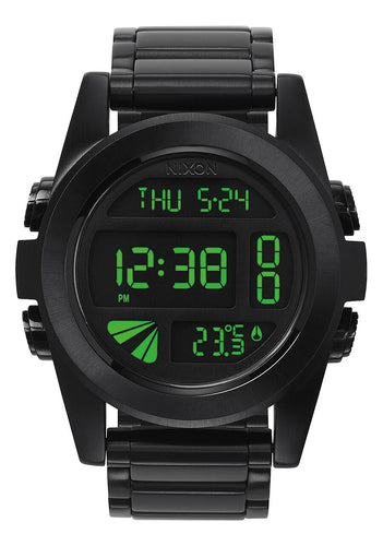 Nixon Watch Unit SS All Black / Green A360-032