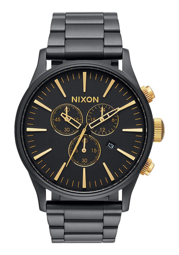 Nixon Watch Sentry Chrono Matte Black / Gold A386-1041