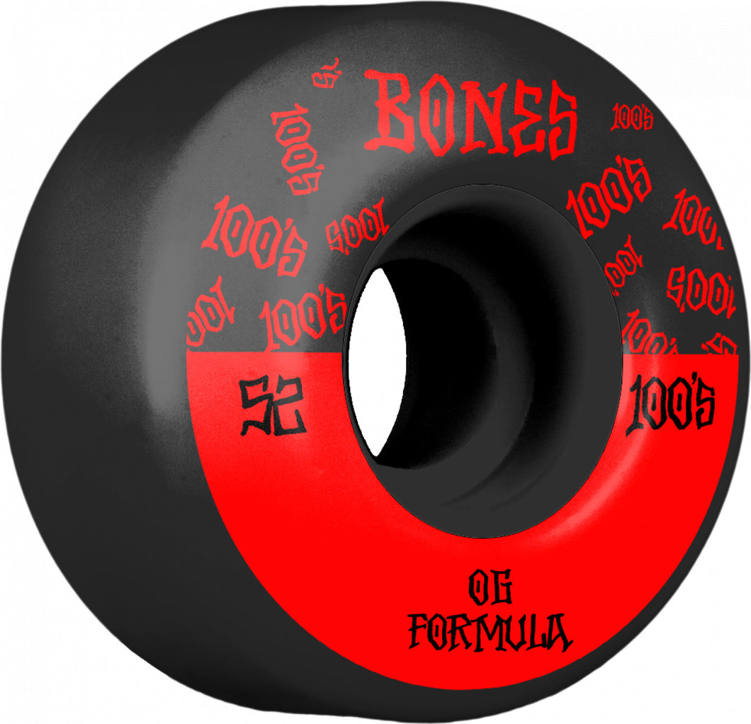 Bones Wheels 100's 52mm Black Wide