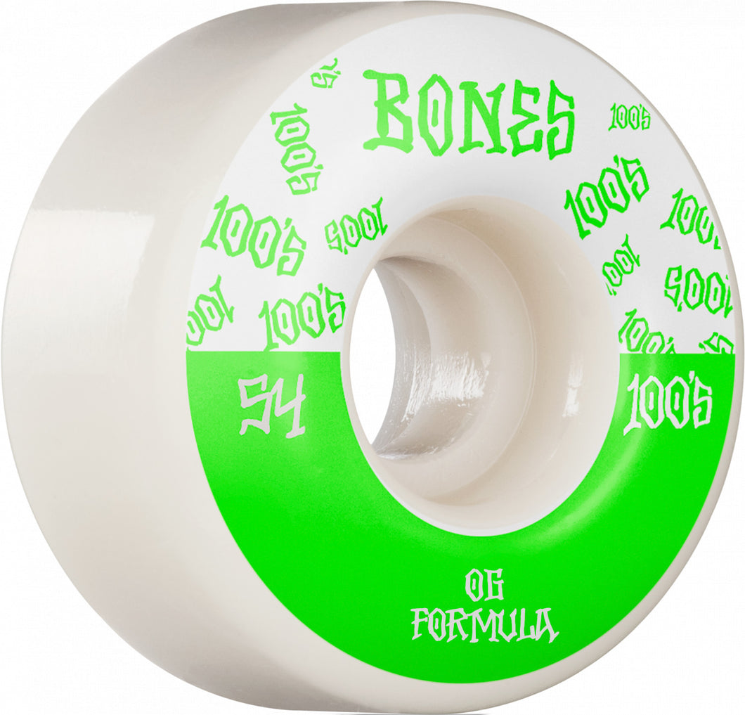 Bones Wheels 100's 54mm White Wide