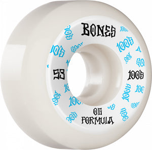 Bones Wheels 100's 53mm White Sidecut