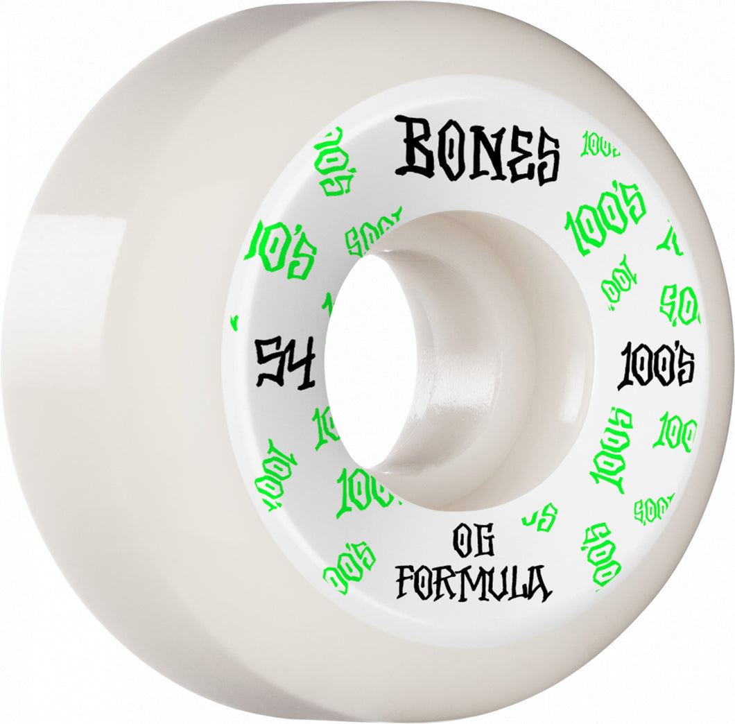 Bones Wheels 100's 54mm White Sidecut
