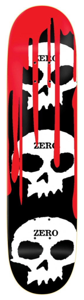 Zero 3 Skull Blood í� Black Skateboard Deck