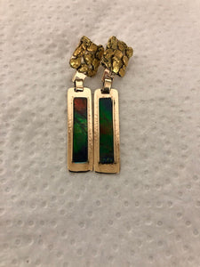 Gold Nugget Earrings with Amulet