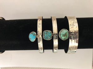 Hand Engraved Silver Bracelet with Turquoise