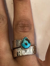 Load image into Gallery viewer, Hand Engraved Wrap Rings | Silver & Turquoise