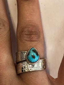 Hand Engraved Wrap Rings | Silver & Turquoise