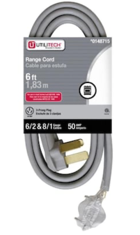 Utilitech 6-ft 3-Prong Gray Range Appliance Power Cord