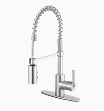 Load image into Gallery viewer, Project Source Brushed Nickel 1-Handle Deck Mount Pull-Down Handle Kitchen Faucet (Deck Plate Included)