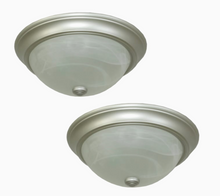Load image into Gallery viewer, Project Source 2-Pack 13-in Satin Nickel Traditional Flush Mount Light