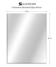Load image into Gallery viewer, 24 in. W x 30 in. H Frameless Rectangular Beveled Edge Bathroom Vanity Mirror in Silver