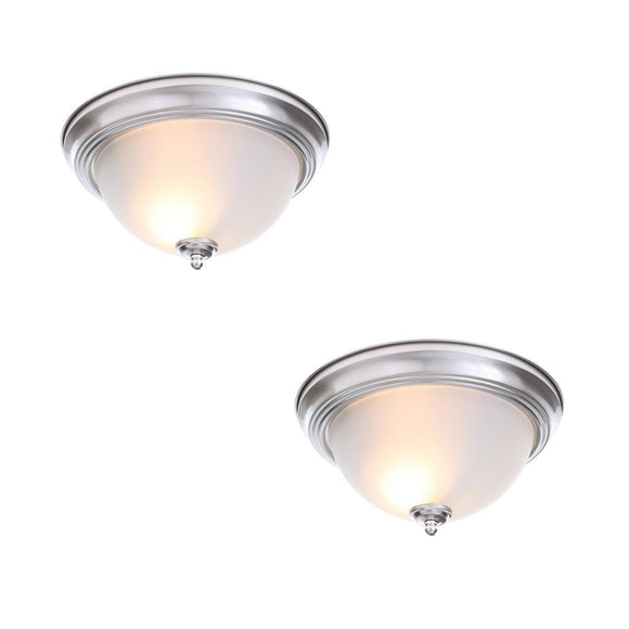 13 in. 2-Light Brushed Nickel Flush Mount with Frosted Glass Shade (2-Pack) - Denali Building Supply