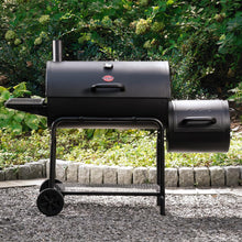 Load image into Gallery viewer, Smokin' Champ Charcoal Grill Horizontal Smoker in Black