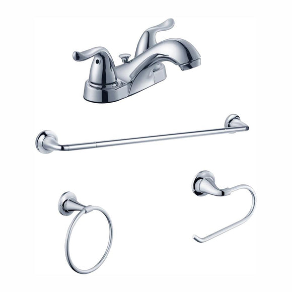 Glacier Bay Constructor 4 in. Centerset 2-Handle Bathroom Faucet and Bath Accessory Value Kit in Chrome - Denali Building Supply