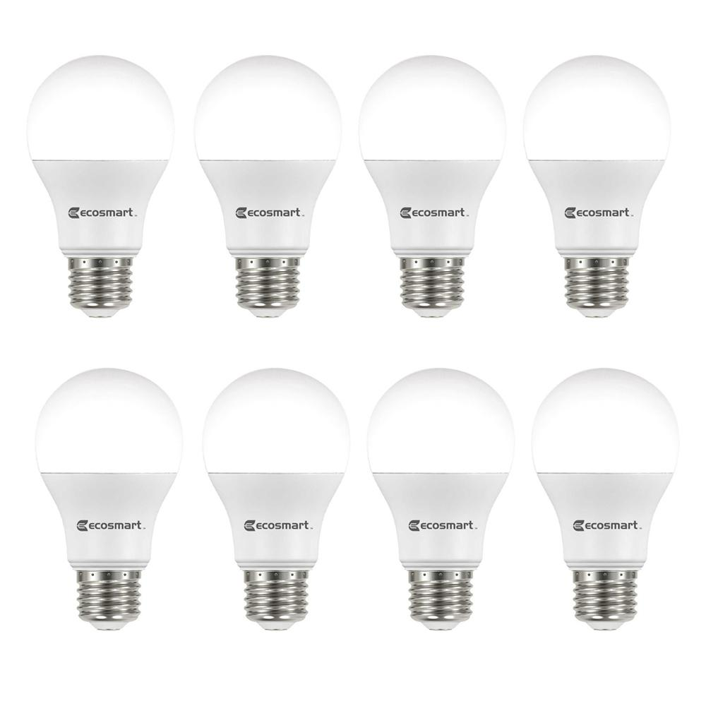 60-Watt Equivalent A19 Non-Dimmable Energy Star LED Light Bulb Soft White (8-Pack) - Denali Building Supply