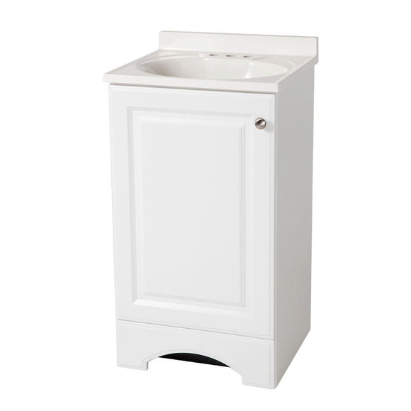 18-1/2 in. W Vanity in White with Cultured Marble Vanity Top in White - Denali Building Supply