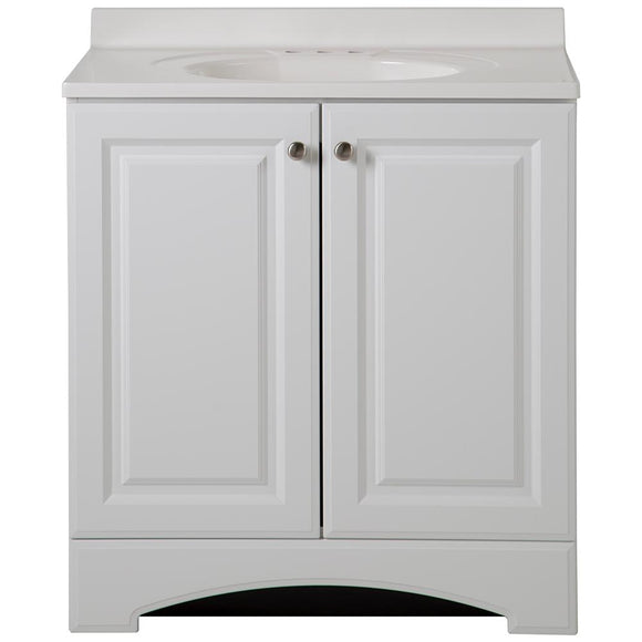 31 in. W Vanity in White with Cultured Marble Vanity Top in White - Denali Building Supply