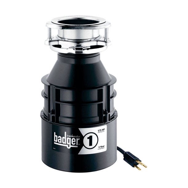 InSinkErator Badger 1/3 hp Continuous Feed Garbage Disposal with Power Cord