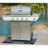 4-Burner Propane Gas Grill in Stainless Steel with Side Burner and Stainless Steel Doors - Denali Building Supply