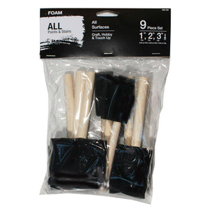 1 in., 2 in. and 3 in. Chiseled Foam Paint Brush Set (9-Pack) - Denali Building Supply