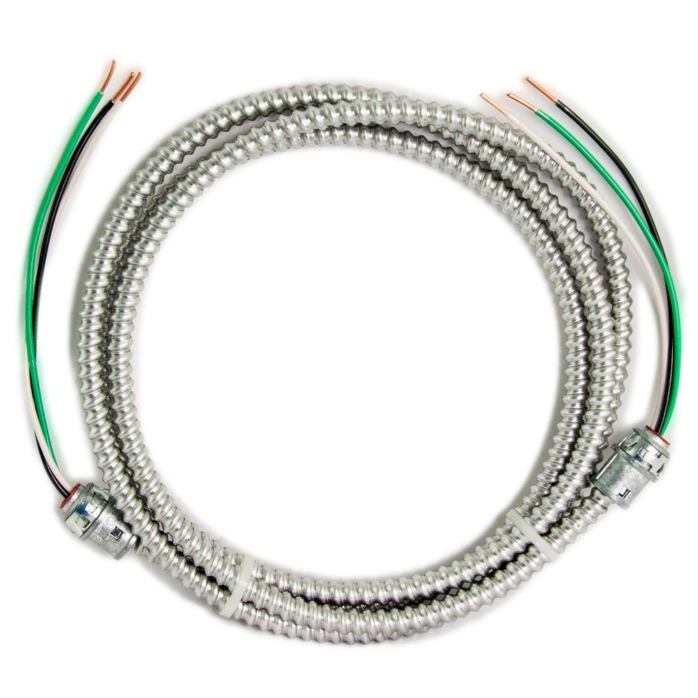 12/2 x 15 ft. Solid CU MC (Metal Clad) Armorlite Modular Assembly Quick Cable Whip - Denali Building Supply