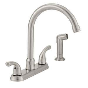 Builders 2-Handle Standard Kitchen Faucet with Sprayer in Stainless Steel - Denali Building Supply