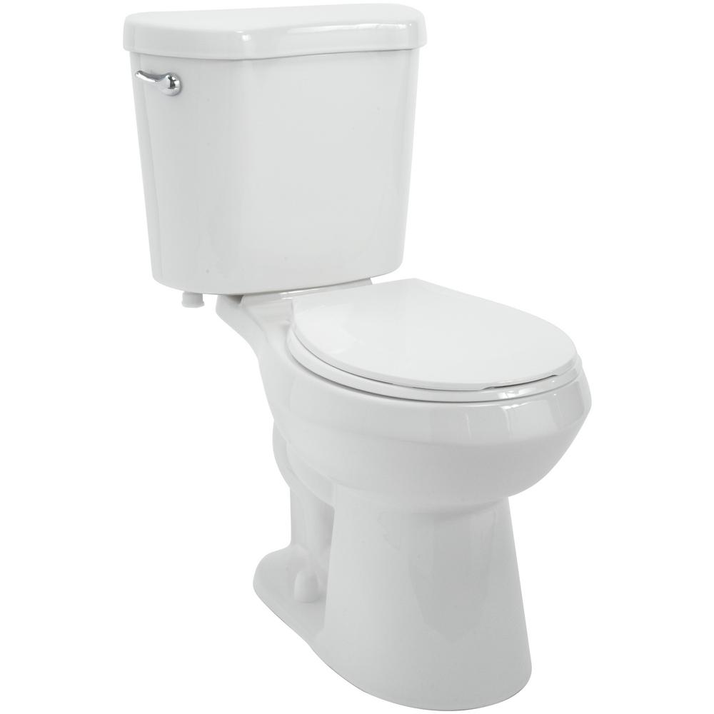 Glacier Bay 2-Piece 1.28 GPF High Efficiency Single Flush Round Toilet in White - Denali Building Supply