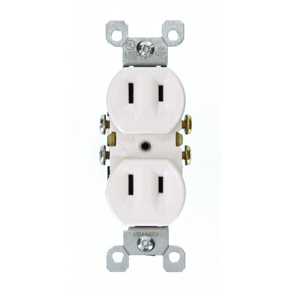 15 Amp 2-Wire Duplex Outlet, White - Denali Building Supply
