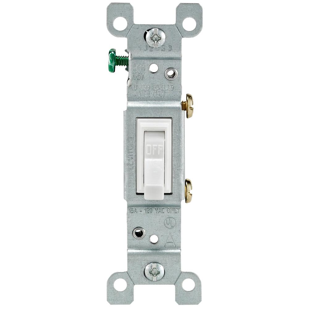 15 Amp Single-Pole Toggle Light Switch, White - Denali Building Supply