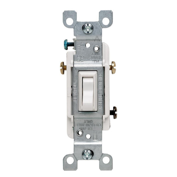 15 Amp 3-Way Toggle Switch, White - Denali Building Supply