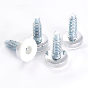 3/8 in.-16 Furniture Levelers with Threaded Inserts, White (4-Pack) - Denali Building Supply