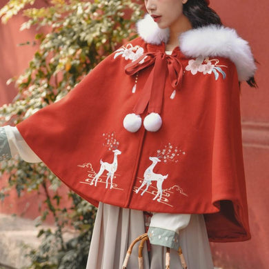 Red Kawaii Sika Deer Woolen Hoodie Coat SP14515