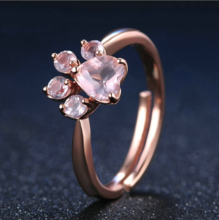 Sterling Silver Rose Gold Cat Paw Ring