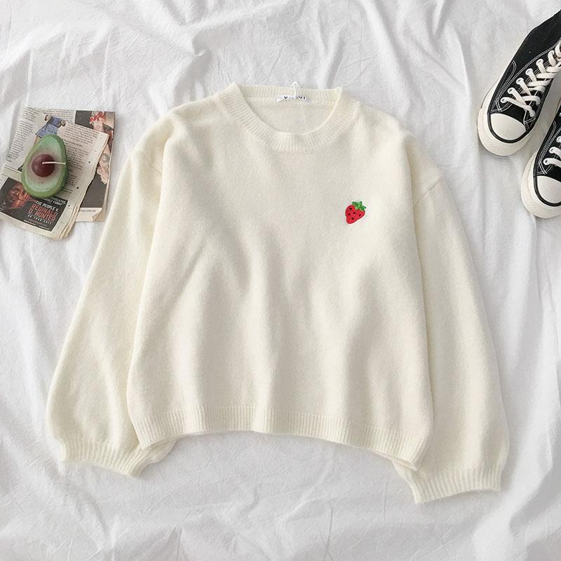 4 Colors Fruit Embroidery Round Neck Sweater SP14493