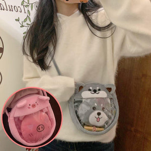 Pink/Grey Kawaii Doge Cross Body Bag SP13931