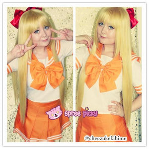 Daily Cosplay [Sailor Moon] Sailor Venus Aino Minako Orange Seifuku Top/Skirt/Bow SP151737/SP151738/SP151734