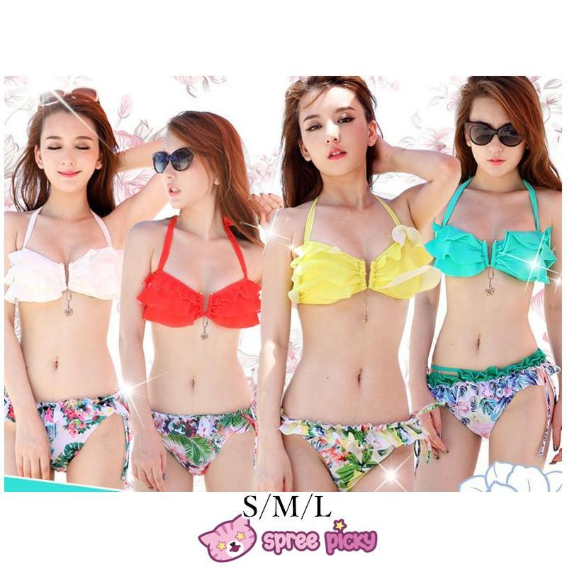 S/M/L 4 Colors Sexy Hawaii Bikini Swimsuit 2 Pieces Set SP151964
