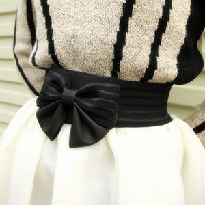 Black Bowknot Stretchy Waistband SP166573