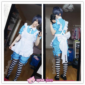 Pink|Blue Custom Made Black Butler Ciel and Alois Trancy Maid Cosplay Costume Set SP140933