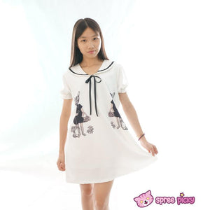 Mori Girl Vintage Funny Cats Sailor Collar Oversize Long T-shirt Dress SP152030