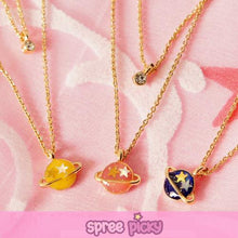 Load image into Gallery viewer, Pink/Navy/Yellow My Little Universe Planet Necklace SP152374