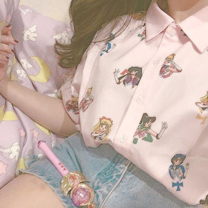 {Free Shipping} Pretty Pink Guardian Sailor Senshi Blouse Shirt SP1710031