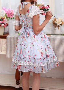 Light Blue Strawberry Floral Printed Dress SP165447