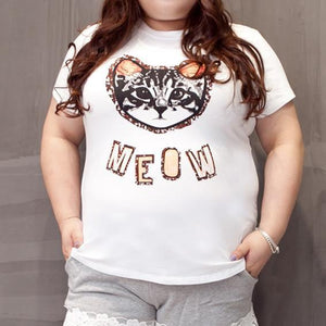 XL-4XL White Kawaii Neko Cat Printing T-Shirt SP166559